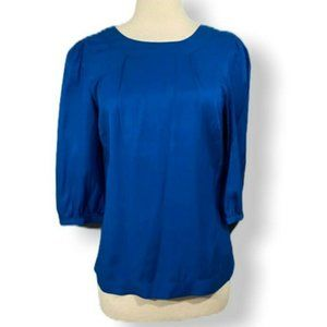 Boden Silk Blend Blouse Size 6 Blue 3/4 Sleeve